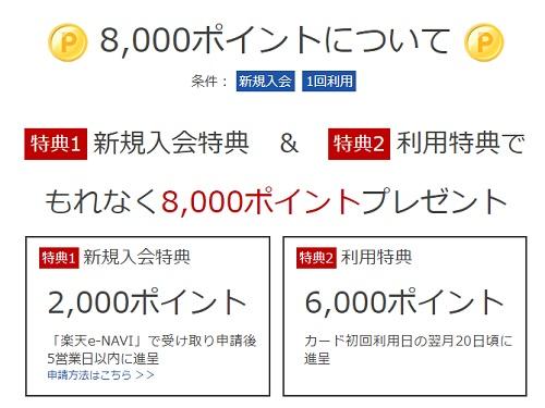 楽天カード8000P