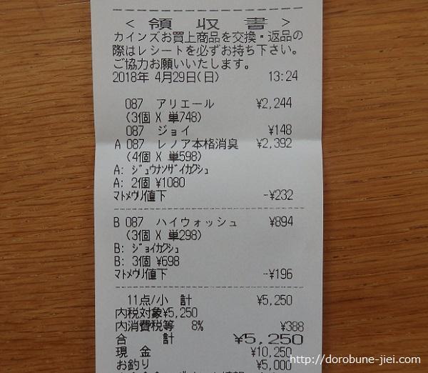 カインズギガ得キャンペーン用レシート